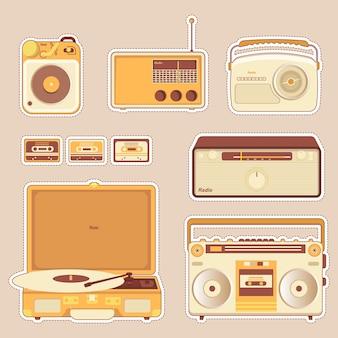 ヴィンテージラジオセットイラスト
