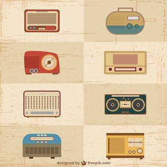 Vintage radio set vectors Free Vector