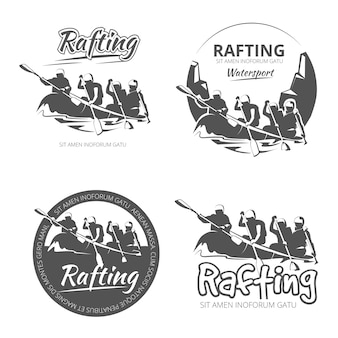 ヴィンテージラフティング、カヌー、カヤックのベクターラベル、エンブレム、バッジのセット。川のイラストでカヌーの野外活動