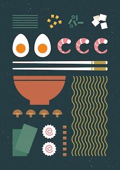 Плакат с винтажным раменом и палочками для еды