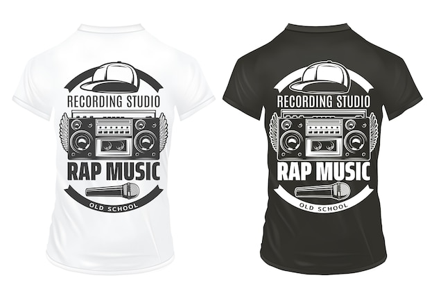 Vintage rap music prints template with inscriptions recorder microphone cap on black and white shirts isolated