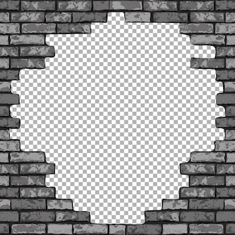 Vintage realistic broken brick wall transparent background. black hole in flat wall texture. gray textured brickwork
