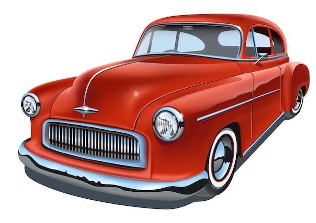 Vintage realistic classic car. isolated on white background.