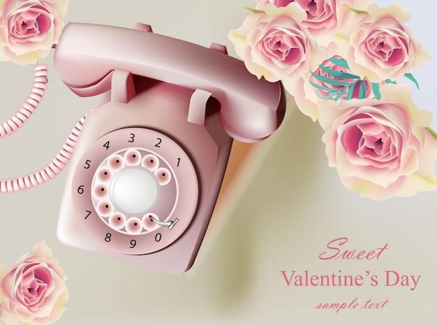 Винтаж реалистичные иллюстрации телефона, день святого валентина