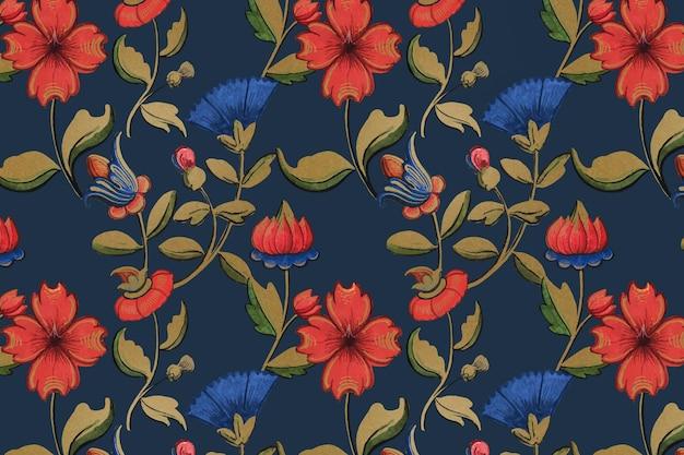 Винтажный красно-синий фон с цветочным узором и произведениями искусства из общественного достояния