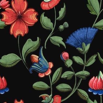 パブリックドメインのアートワークを備えたヴィンテージの赤と青の花柄の背景ベクトル