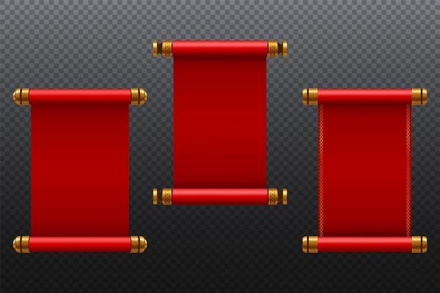 プレゼンテーションビジネスwebデザイン要素のヴィンテージ赤白紙スクロールセットのアイデア