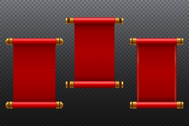 Vintage red blank paper scroll set idea for presentation business web design element