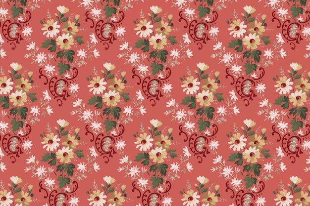 Vintage red blooming flowers pattern background