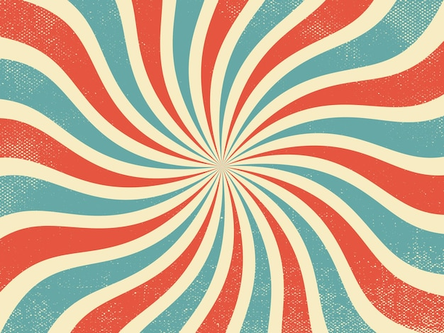 Vintage red and blue rays retro background