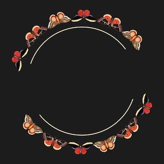 ヴィンテージの赤い蝶のパターンのフレームベクトル、georgeshawによるthenaturalistのmiscellanyからのリミックス