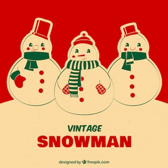 Vintage red christmas card with cute snowmen