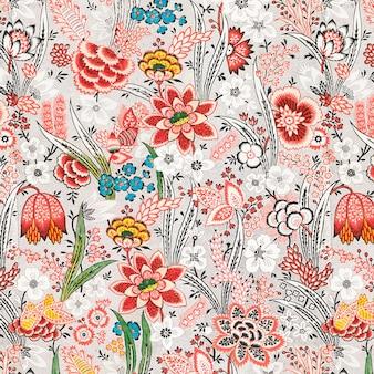 Vintage red floral pattern background