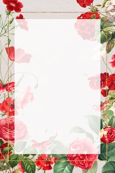 Vintage red flowers floral frame