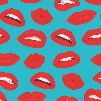 Vintage red lips kiss seamless pattern