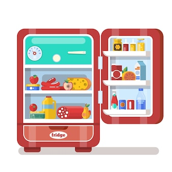 Vintage red opened refrigerator full of food flat vector