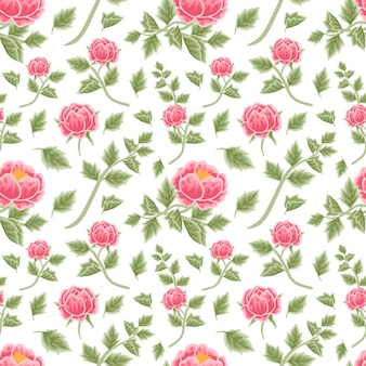 Vintage red peony floral seamless pattern with flower buds and leaf branches