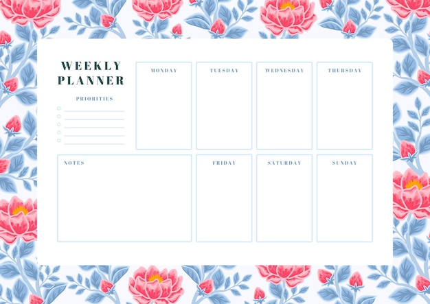 Vintage red peony flower and blue leaf weekly planner template