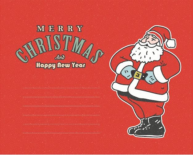 산타와 텍스트에 대 한 장소 빈티지 레드 엽서