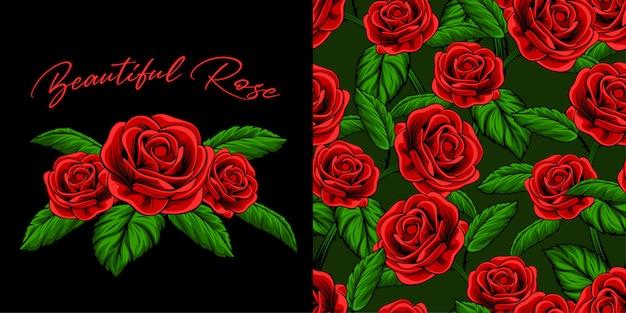 Vintage red rose illustration