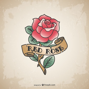 Vintage red rose tattoo