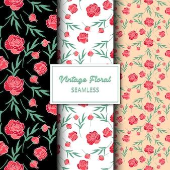 Vintage red roses seamless pattern design