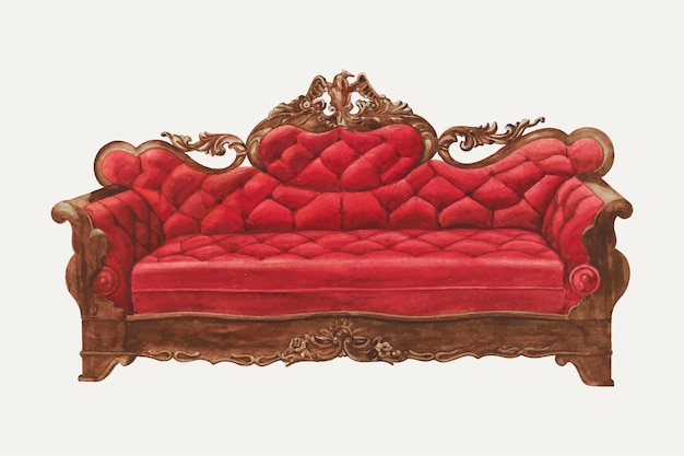 Vintage red settee vector illustration, remixed from the artwork by henry moran