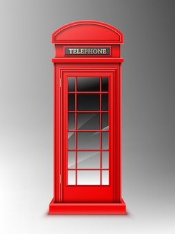 Vintage red telephone booth, classic london retro phone box.