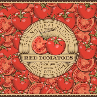 Vintage red tomatoes label on seamless pattern