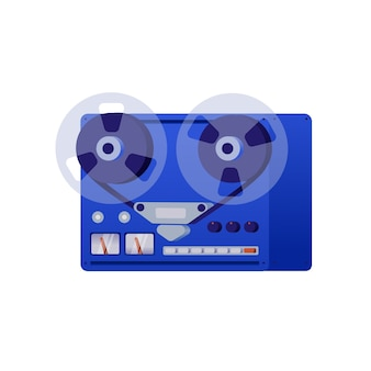 Vintage reel to reel tape recorder.   illustration in retro style, white background.