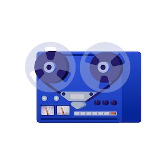 Винтаж катушечный магнитофон. иллюстрация в стиле ретро, белый фон.