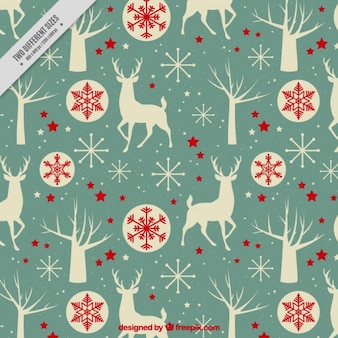 Vintage reindeer background and christmas balls