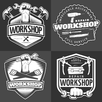 Vintage repair workshop badge set
