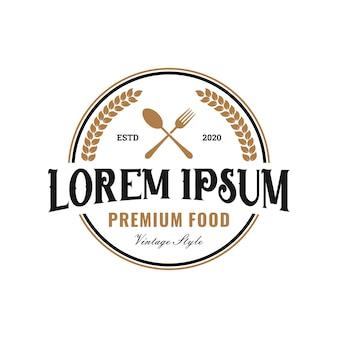 ビンテージレストラン/食品ロゴ