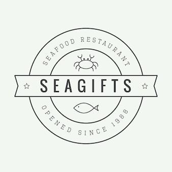 Винтажный ресторан логотип, значок или эмблема. векторная иллюстрация