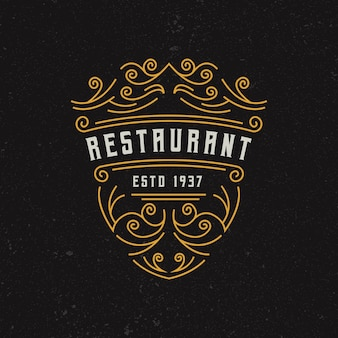 ヴィンテージレストランのロゴのデザインテンプレート