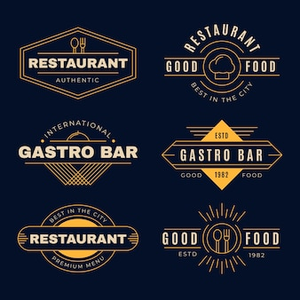 Vintage restaurant logo with golden design
