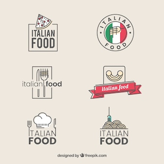 Vintage restaurant logos collection of italian