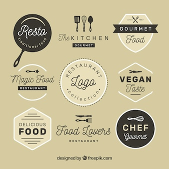 Vintage restaurant logos with badge design