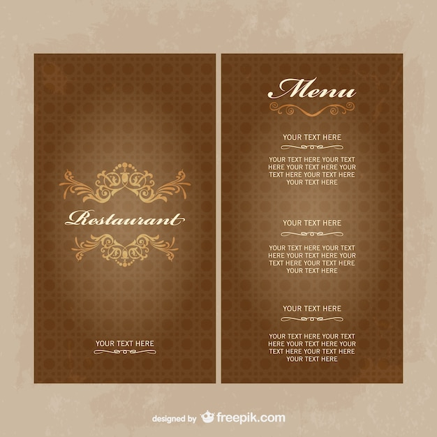 Vintage restaurant menu template in brown tones