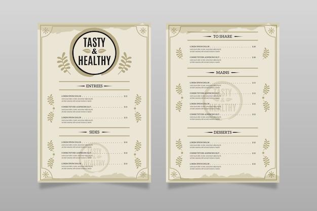 Винтажное ресторанное меню шаблон концепции