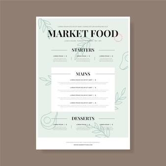 Modello di menu del ristorante vintage