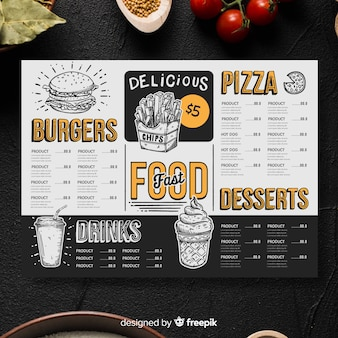 Vintage restaurant menu template
