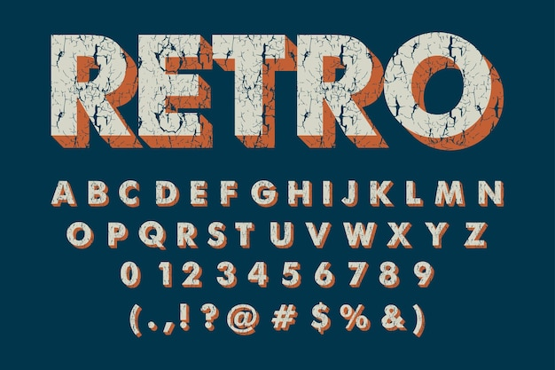 Vintage retro alphabet with grunge texture