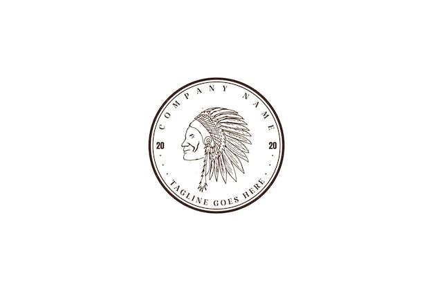 Винтаж ретро американских коренных индейцев главный головной убор дизайн логотипа вектор