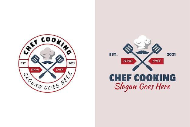 シェフ料理レストランの食品シンボルのヴィンテージレトロとエンブレムのロゴ