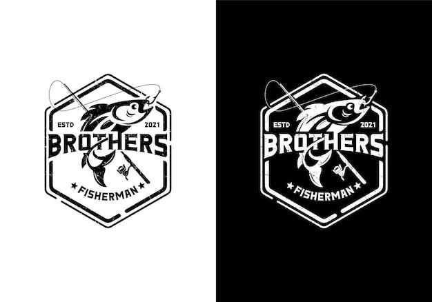 Vintage retro angler, fishing shop logo design template
