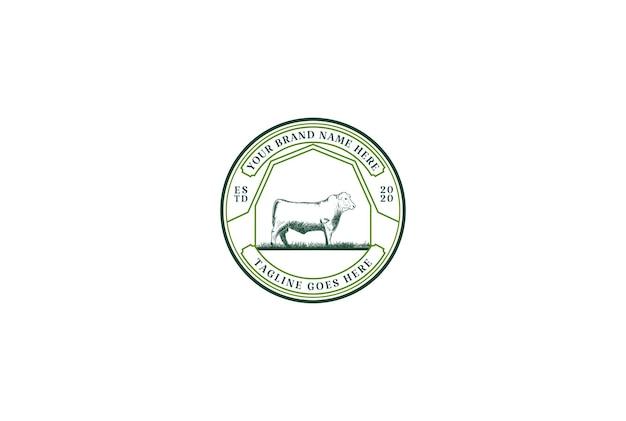 牛肉ロゴデザインベクトルのヴィンテージレトロアンガス牛