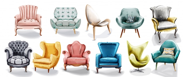 Vintage retro armchair collection watercolor