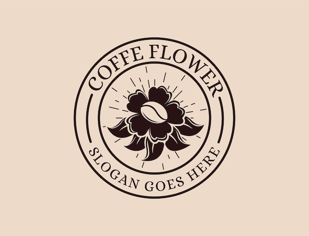 ヴィンテージレトロなバッジエンブレムパッチ花とコーヒーのロゴ